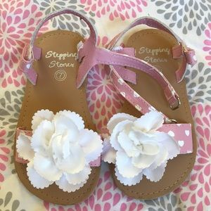NWOT pink & white heart sandals Easter ready 7
